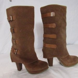 """Report Brown Suede 15"""" Tall Boots Buckles 9"""